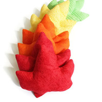 Maple Leaf Shaped Bean Bags Autumn Kids Toss Toy Bright Orange Red Yellow Green -- US Shipping Included