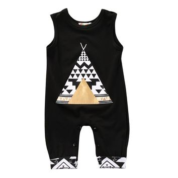 Spring Summer Style 2017 Infant Baby Girl Boy Animal Printed Sleeveless Romper Jumpsuit Casual Clothes