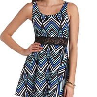 CHEVRON PRINT & LACE SKATER DRESS
