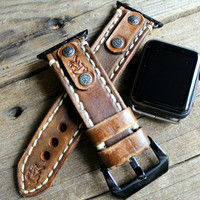 Distressed Brown Leather Apple Watch Strap