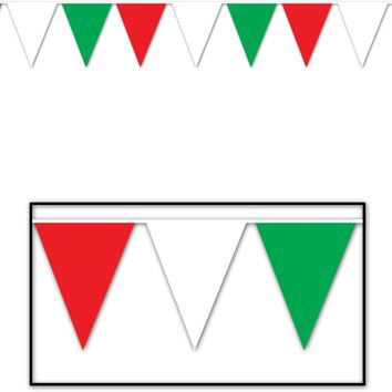 Red, White & Green Pennant Banner - All-Weather #70705 Case Pack 24