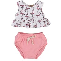 2pcs!! Cute Newborn Infant Baby Girl Clothes Set Sleeveless Flamingo Ruffles T-shirt +Bloomer Bottoms Outifts Sunsuit