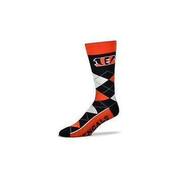 NFL Cincinnati Bengals Argyle Unisex Crew Cut Socks - One Size Fits Most