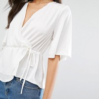 Missguided Satin Tie Front Blouse at asos.com