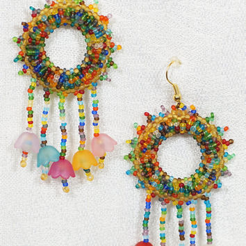 Rainbow summer colors, flowers, unique bright handmade dangle earrings of seed beads and acrilic beads