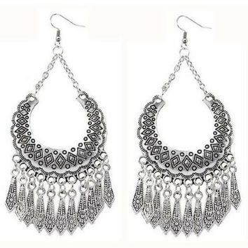 Silver Ethnic Tassel Long Drop Earrings