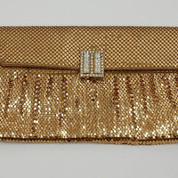 Whiting and Davis Art Deco Clutch 1940s Mesh Bag Rhinestone Clasp Gold Mesh Clutch Bridal Purse Wedding Bag 1950s Evening Bag
