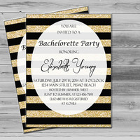 Bachelorette Invitation, Printable Bachelorette Party Invites, Gold Glitter Invitation,  Gold and Black JPEG Custom Invite