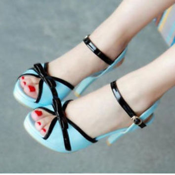 Korean fashion womens patent leather sweet bow stilettos dating roman sandals