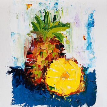Pineapple Painting, Impressionist Painting, Painting on Paper, Fruit Painting, Textured Impasto Palette Knife Tropical Art, Contemporary Art