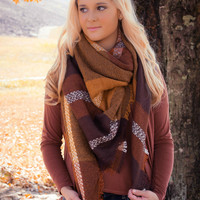 Brown/Yellow Blanket Scarf
