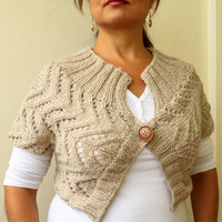 Handknitted Oatmeal Wool Knitted Lace Bolero by warmandsoft