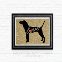 American English Coonhound (Redtick) Love - Burlap Printed Wall Art, Silhouette, Dog, Pet, Shabby Chic, Art, Artwork, Print, Home Decor