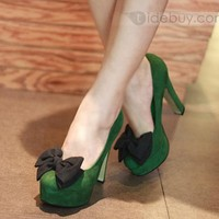 Fashion Dark Green Suede Chunky Heels Prom/Evening Shoes