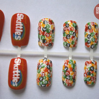 Skittle Sweets Vintage Nail Art False Nails Set