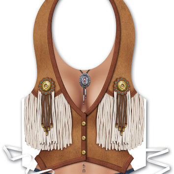 Western Plastic Cowgirl Vest Full Size - 48 Pack Case Pack 48