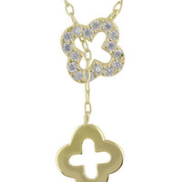 Lord & Taylor Gold-Tone & Cubic Zirconia Double Clover Necklace