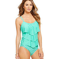 Alex Marie Tiered-Ruffle Tankini - Mint