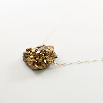 Gold druzy necklace: amethyst drusy jewelry, unique