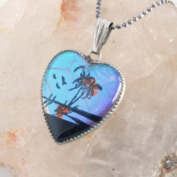 Vintage Butterfly Wing Pendant - Real Morpho Butterfly Necklace - Painted Butterfly Wing Jewelry - Deserted Island Scene - 18""