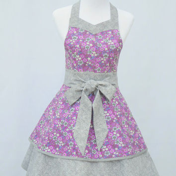 Women's Apron, Retro Style, Sweetheard Neckline, Full Double Layered Skirt, Purple and Gray Flowered Print, 100% Cotton