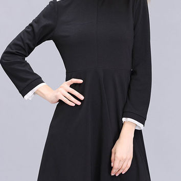 2016 Autumn Black Chiffon Cuff Stand Collar Loose Long Sleeve Mini Pleated Dress