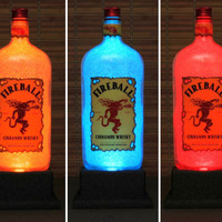 Fireball Cinnamon Whiskey Color Changing Bottle Lamp/Bar Light/ LED Remote Controlled Eco Friendly LED -Bodacious Bottles-