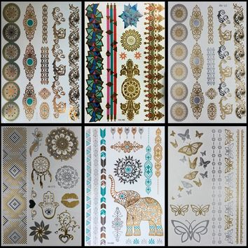 6 PCS/ lot Temporary Metallic Tattoo Gold Silver Black Flash Tattoos Flash Inspired High Quality body art tattoo sticker tatoo