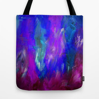 Midnight Flower Garden In Shades of Deep Blue, Violet, Purple and Pink Tote Bag by Jenartanddesign