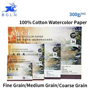 Bgln 300g m2 Professional Watercolor Paper 20Sheets Hand Painted Water-soluble Book Creative Office school supplies