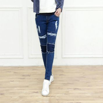 Spring autumn pregnant women pants maternity jeans ripped
