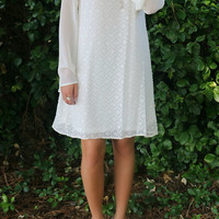 Floating in Paradise Cream Bell Sleeve Shift Dress