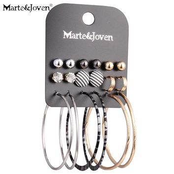 Marte&Joven 9 Pairs Animal Print Big Hoops Jewelry Vintage Stripe Cloth Button Mix Spherical Hoop Earring Set for Women