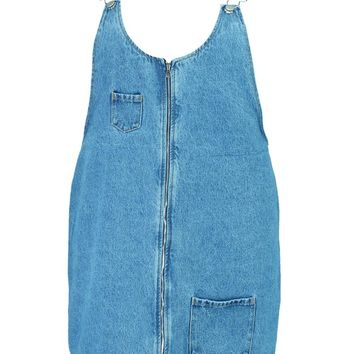 Plus Penny Denim Zip Front Pinafore Dress | Boohoo