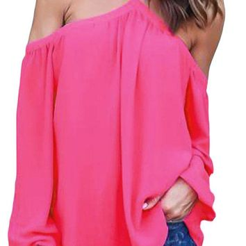 Rosy Long Sleeve Off Shoulder Halter Top
