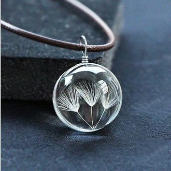 Dandelion Pendant Necklace Men/Women Chain Fashion Long Necklaces Crystal/Statement/Long Necklaces & Pendants
