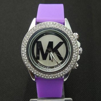 ONETOW MK Michael Kors men and women new stylish fashion candy strap F-SBHY-WSL Purple Watchband + Silver Dila + Silver Case