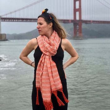 Mexican Rebozo Shawl - Orange Blossom