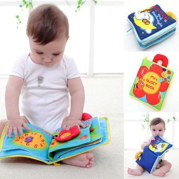 VONC1Y 12 pages Soft Cloth Baby Boys Girls Books Rustle Sound Infant Educational Stroller Rattle Toys For Newborn Baby 0-12 month