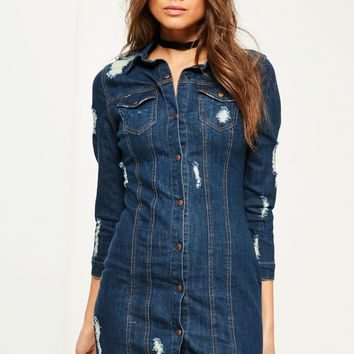 Missguided - Blue Fitted Ripped Denim Shirt Dress
