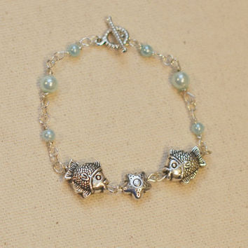 Fish in the Sea Bracelet - Light Blue Wire-Wrapped Pearl Bracelet w/ Silver Fish & Starfish Charm Beads and Toggle Clasp
