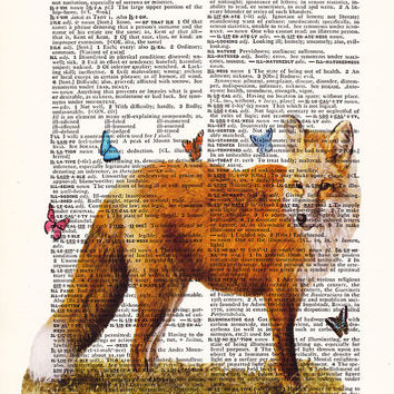 Red Fox With Butterflies Home Wall Decor Art Dictionary Print Home Dorm Wall