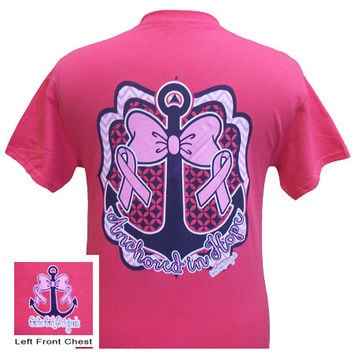 Girlie Girl Originals Anchored in Hope Breast Cancer survivor Bright T Shirt
