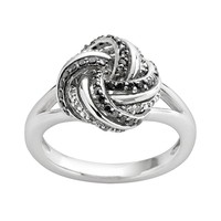 Sterling Silver 1/4-ct. T.W. Black & White Diamond Love Knot Ring