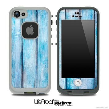 Aqua Blue Vintage Wood Skin for the iPhone 5 or 4/4s LifeProof Case