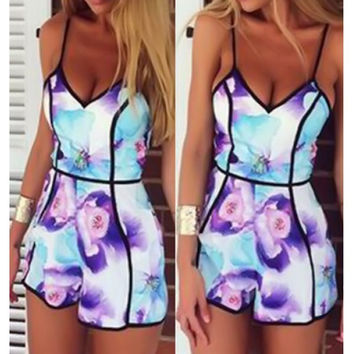 Sexy Pastel Floral Explosion Romper