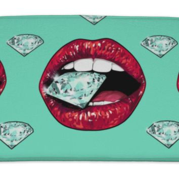Bath Mat, Bright Lips Holding A Sparkling Brilliant Pattern Realistic Graphic Drawing