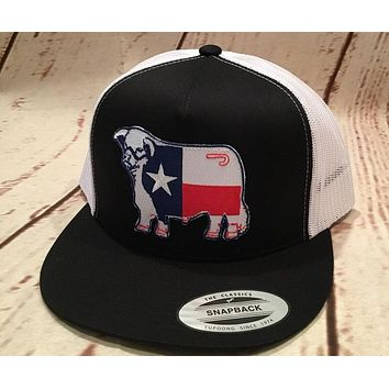 "Lazy J Black and White Texas Flag Hereford Patch Cap (4"")"