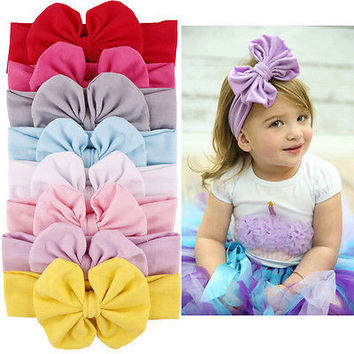 1 Pcs Baby Girls Big Bow Hairband Stretch Turban Knot Headband Head Wrap U66