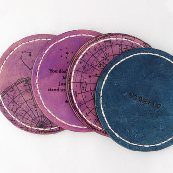 Personalized Astrology Zodiac Leather Coaster / Horoscope /  Birth Sign / Scorpio / Star Sign / Set of 4 / Purple / Blue